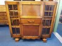 Solid Oak Deco Style Bureau Cabinet with key