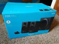 Logitech Z333 80W PC speakers with subwoofer and volume dial mint boxed