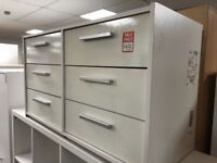 3+3 drawer white gloss chest of drawers