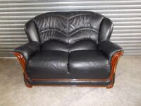 Italian Black Leather 2-seater Sofa (Suite)