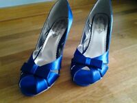 New Blue Satin High Heeled Shoes. Size 8