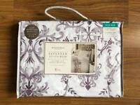 BRAND NEW SAVANNAH STITCHED DELUXE DOUBLE DUVET SET - PURPLE