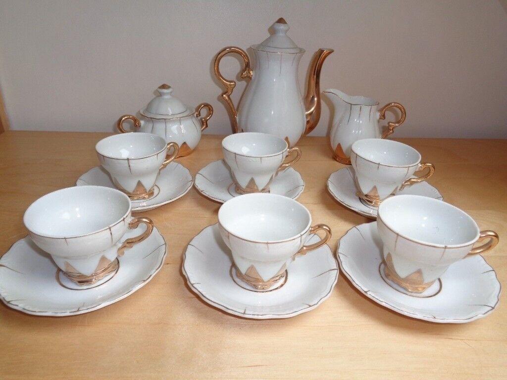 Vintage Foreign White Gold 15 Piece Demitasse Coffee Set Keep Cup Doppio Small 8oz 227ml Serves