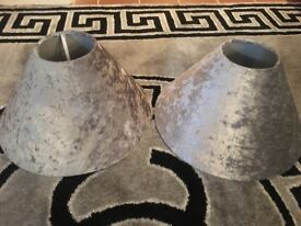 Silver Crushed Velvet Lampshades