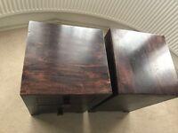 Two Dark mango 3 drawer bedside table