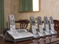 Panasonic cordless home phone set with answering machine and 5 handsets