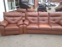 GORGEOUS REAL LEATHER SOFA SET 3 seater & Armchair
