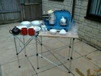 DOUBLE BURNER CAMPING STOVE WITH TABLE & CROCKERY