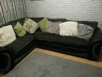 Dfs large corner sofa black and grey
