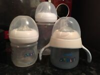 AVENT NATURAL BOTTLES, TRAINING CUP, STORAGE CUPS & SEALING CAPS VGC