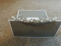 Bridal headband, tiara pearl and crystal