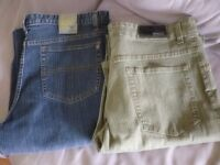 "two brand new quality streatch jeans,size 36""waist (1 denim blue)(1 light green)fits any tall person"
