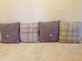 4x Next cushions for sofa or bed - purple and cream