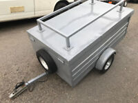 5 ft lightweight metal box trailer with folding lid single wheel with lights and rack