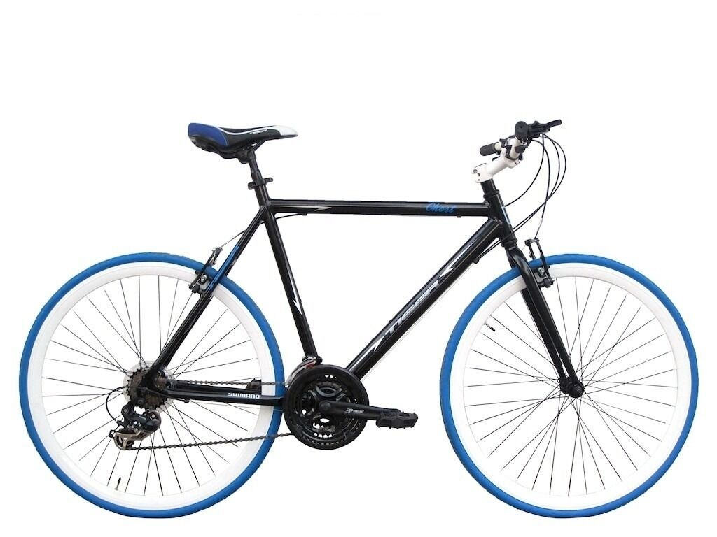 """Tiger Ghost Flat Bar STI Road Bike – 58cm (23"""" Frame) BLUE (Perfect Condition) Commuter Bicycle"""