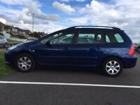 Peugeot 307 estate .2006. 1.6 petrol. Tax Aug 18. MOT May 18. Serviced 14/9/17. FSH 1 owner. £999