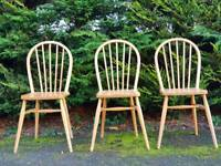 3 x Pine Chairs. Vintage Ercol Style Windsor