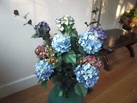 Silk Hydrangea flowers - large (shades of blue)