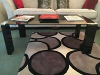 Black Glass coffee table, excellent condition