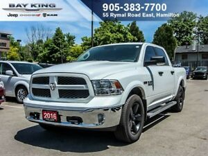 2016 Ram 1500 OUTDOORSMAN, CREW CAB, 4X4, SPRAY IN BEDLINER
