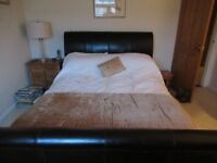 Feather & Black King size leather sleigh bed