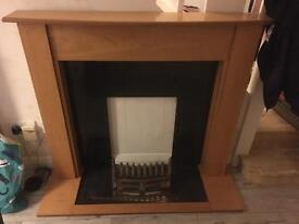 wooden fire surround & gas fire,
