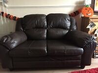 2 seater and 3 seater brown leather sofas