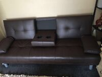 Sofa Bed with Cup Holders/Brown Price Reduced for immidiate sale.