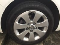 """4 Genuine 17"""" Insignia alloys with 3 excellent Tyres..."""