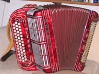 Hohner Shand Morino 40 key BCC# Accordion, with straps and fibre case