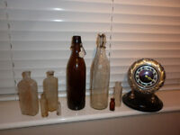 OLD BOTTLES AND OLD RUSSIAN CLOCK JOB LOT AS SEEN £15 PLYMOUTH AREA COLLECTION ONLY