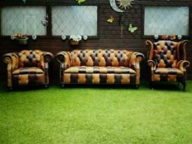 CHESTERFIELD SUITE BRAND NEW IN BROWN AND TAN LEATHER