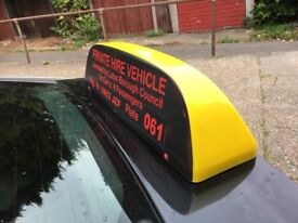 Roof Sign for private Hire Vehicle