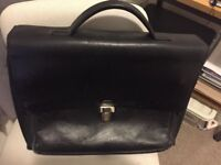 Bally black leather brief case with laptop compartment