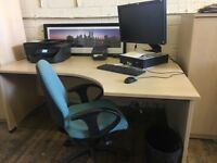 Job lot office furniture, desks, chairs, drawers and cupboards
