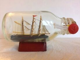 Vintage Ship in a Bottle on Fixed Wooden Stand with Cork and Anchor Seal