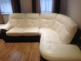 Leather Corner sofa with swivel chair and footstool