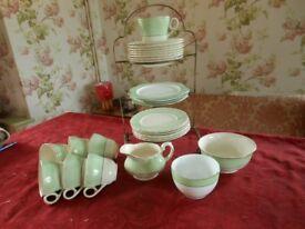 Vintage 6-piece tea service Grindley CreamPetal Green & white Plates, teapot, cups & saucers