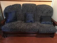 Wood frame three seater sofa and and two arm chairs blue