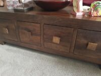 Bookshelf, media unit and table all mango wood