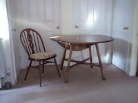 ERCOL drop leaf table with 4 matching chairs + seat covers, all in v.g.c.