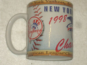 1998-NEW-YORK-YANKEES-GLASS-COFFEE-AMERICAN-LEAGUE-CHAMPIONS-MUG-NEW