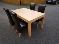New Oak Dining Table by Bently Designs & 4 Dark Brown Leather Chairs FREE DELIVERY 271
