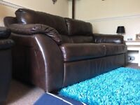 Leather Sofa Brown Three Seater from SCS **Reduced** Need Gone