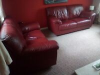 3+2 Real leather sofas wine red very nice condition