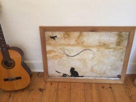 Banksy Cat and Mouse Print 27x38in custom made pine frame. Collection Crouch End