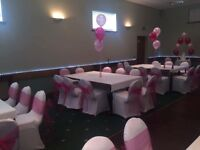 Chair covers 50 p hire bows 50 p set up is free weddings communions birthdays ect stunning