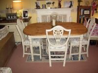 FARMHOUSE KITCHEN DINING TABLE AND 4 CHAIRS Approx 5ft x 3ft PINE