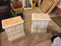 2 wooden bedside cabinets painted white