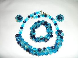 Blue and green colour glass necklace, bracelet and clip on ear rings